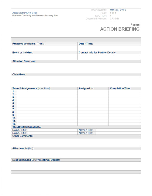 Business Continuity Plan Template Form – Word Form Template