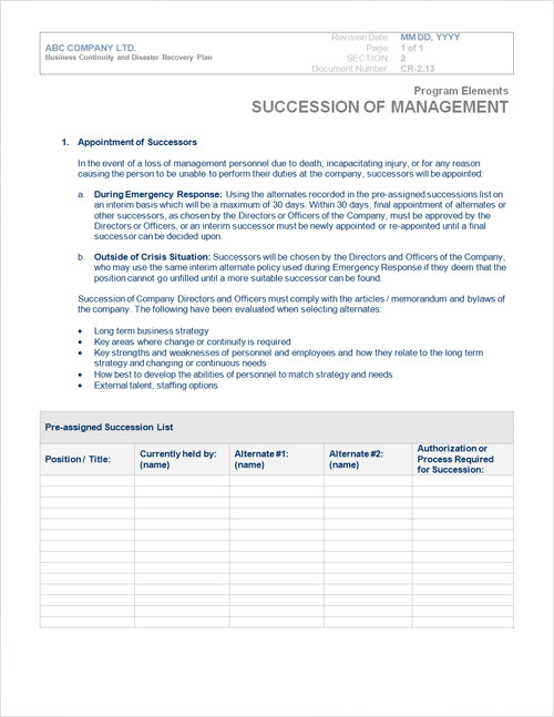 Disaster Recovery Plan Template Form
